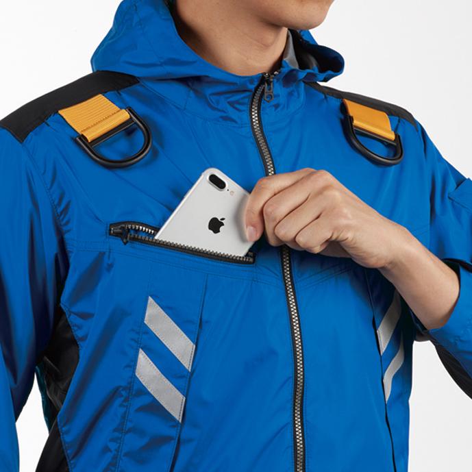 両肩ハーネスフックハンガー(収納可)※実用新案登録済 バッテリー収納ポケット (右胸・ファスナー止め・コードホール付き)