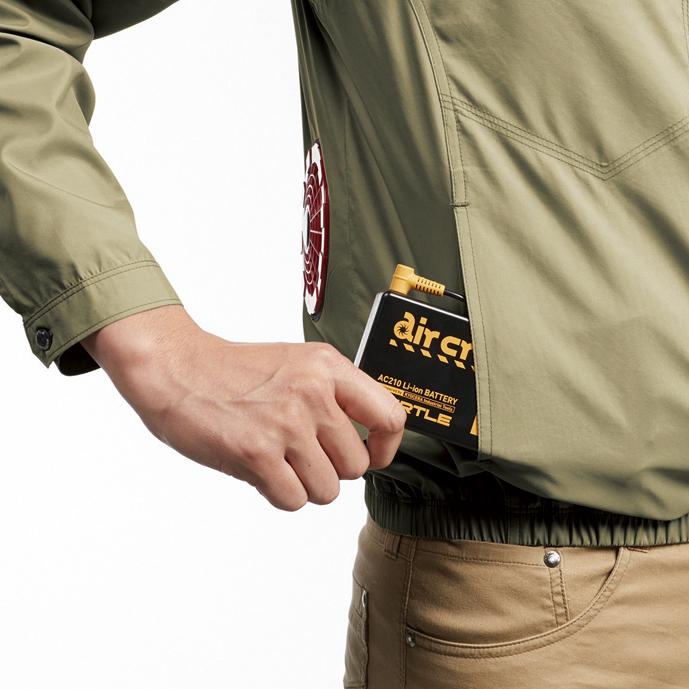 バッテリー収納ポケット(右・マジックテープ止め)※特許取得済