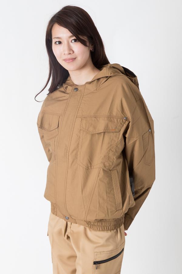 【サンエス】【春夏作業服】空調服 フード付き綿100%空調ブルゾン KU91410          モデル画像1