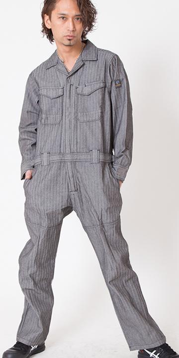 【イーブンリバー】【年中つなぎ】へリンボンカバーオール GS-4000