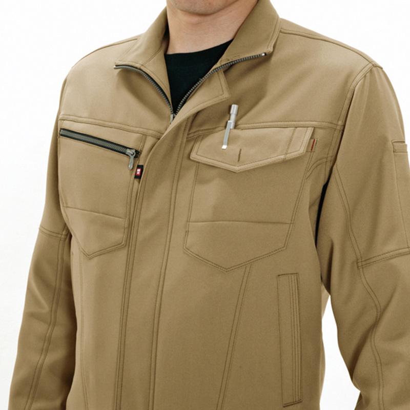 レベルブック、ダブル収納ポケット(左:深さ20cm)、胸ペンさし(左)