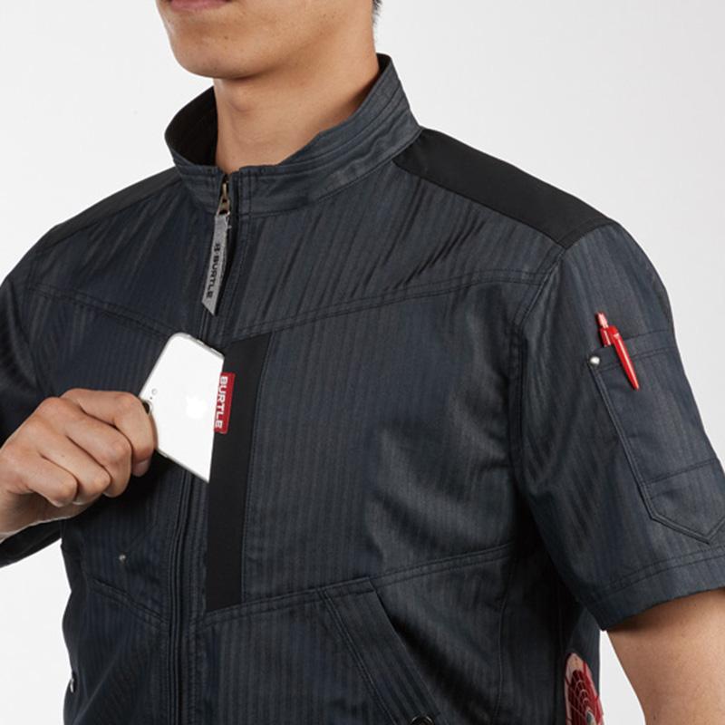 肩コーデュラ補強布使用、Phone収納ポケット(左)、袖ペンポケット(左)