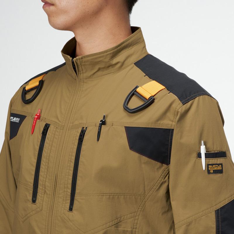 両肩ハーネスフックハンガー(収納可)※実用新案登録済、胸ペンさし(左右)、袖ペンポケット(左)