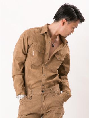 7251【年中作業服】プリントワークシャツ【アイズフロンティア】着用イメージ1