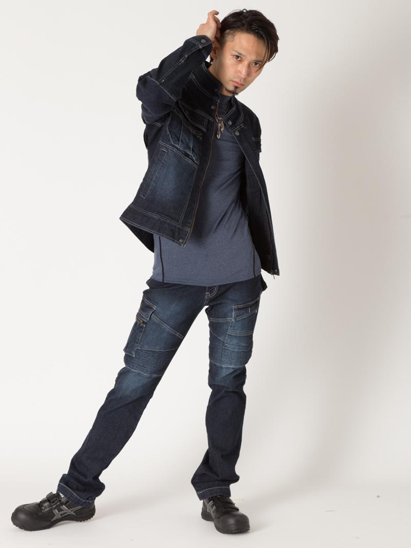8930-554【寅壱】 【秋・冬作業服】 デニム蛇腹-カーゴパンツモデルイメージ前