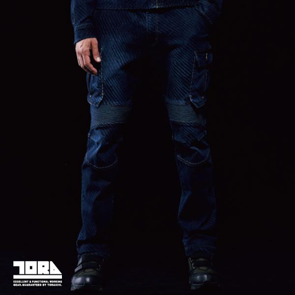 【寅壱(TORAICHI)】【秋冬作業服】デニム蛇腹カーゴパンツ 8980-219
